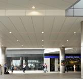 External ceilings and column casings were designed to provide a robust finish in the busy transport interchange at Stratford Place