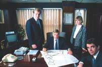 Dynasty: Alan Cherry, centre, with Graham to his left in 1985. Also pictured are Trisha Gupta, design director and Mike Pearce, financial director