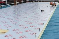 Celotex insulation is added to a new flat roof installation