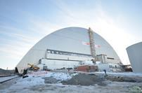 New metal clad building housing damaged Chernobyl reactor