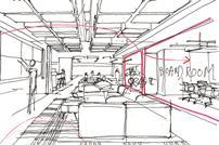 Sketch of open-plan office interior