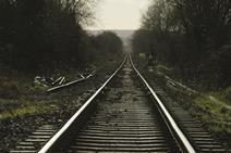 Rail tracks in countryside