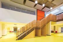 Staircases are configured as bold single flights to aid legibility and accessibility