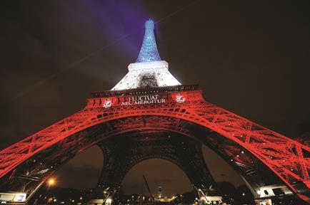 Eiffel tower after Paris attacks